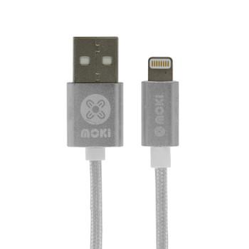 Image for Moki 10cm Pocket Braided Lightning SynCharge Cable - Silver AusPCMarket