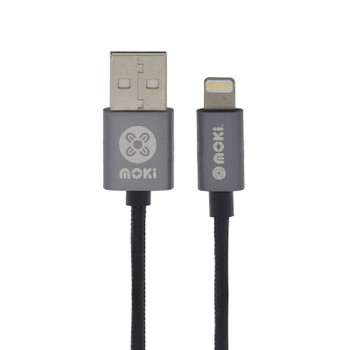Image for Moki 90cm Braided Lightning SynCharge Cable - Gun Metal AusPCMarket