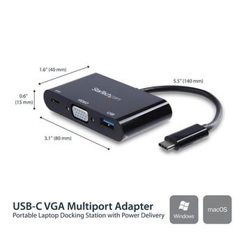 StarTech USB Type-C to VGA Adapter with PD & USB Port - USB-C Adapter Product Image 2