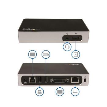 StarTech Universal USB 3.0 Laptop Docking Station for Hot Desks - DVI Product Image 2