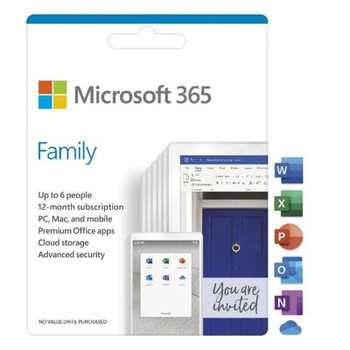 Microsoft Office 365 Family 1 Year Subscription - Medialess Retail Main Product Image