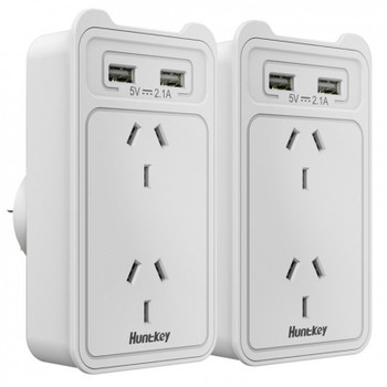 Huntkey SAC207 Smart AU Wall Charger with 2 AC and 2 USB combined 2.4A - 2 Pack Main Product Image