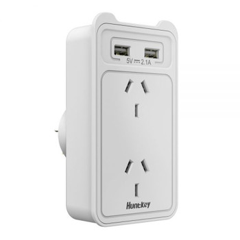 Huntkey SAC207 Smart AU Wall Charger with 2 AC and 2 USB combined 2.4A - 2 Pack Product Image 2