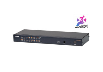 Aten 1-Console High Density Cat 5 KVM 16 Port with Daisy-Chain Port - supports 1920x1200 up to 30m on supported adapters - KVM Adapters not included Main Product Image