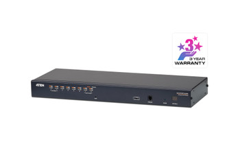 Aten 1-Console High Density Cat 5 KVM 8 Port with Daisy-Chain Port - supports 1920x1200 up to 30m on supported adapters - KVM Adapters not included Main Product Image