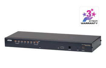Aten 1-Console High Density Cat 5 KVM Over IP 8 Port with Daisy-Chain Port - supports 1920x1200 up to 30m on supported adapters - KVM Adapters not included Main Product Image