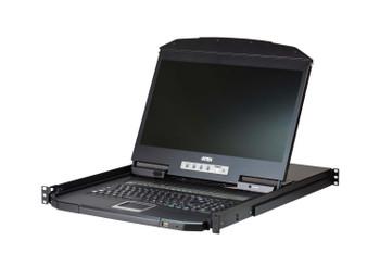 Aten 18.5in Short Depth 8 Port LCD KVM – includes 2 1.8m VGA USB KVM Cable Main Product Image