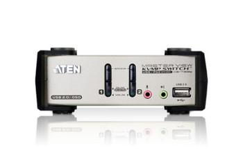 Aten 2 Port USB 2.0 VGA KVMP Switch with OSD and audio - Video DynaSync - mouse and keyboard emulation - 2 VGA USB KVM Cables included Product Image 2