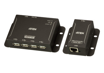 Aten 4-Port USB 2.0 Cat 5 Extender - extends 4 USB devices up to 50m – includes power adapter to power the remote unit - with local unit powered via USB Main Product Image