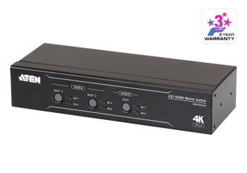 Aten VM0202HB 2x2 True 4K HDMI Matrix Switch with audio de-embedder - supports control via pushbuttons - IR remote or RS232 serial Main Product Image
