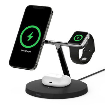 Product image for Belkin Boost Charge 3-in-1 Wireless Charger with MagSafe 15W - Black AusPCMarket
