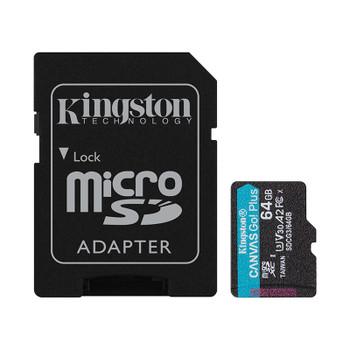 Kingston 64GB Canvas Go Plus UHS-I Class 10 microSD Memory Card Main Product Image