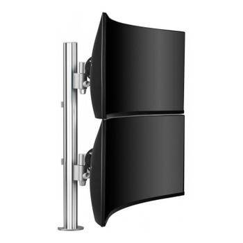 Atdec AWMS-2-LTH75 Post Mounted Dual Monitor Stand Kit - Silver Main Product Image