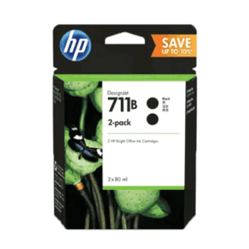 Product image for HP 711B 80Ml Black Ink Cartridge 2-Pack - T100 / T120 / T125 / T130 / T520 / T530
