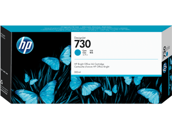 Product image for HP 730 300-Ml Cyan DesignJet Ink Cartridge - T1700 / New Sd Pro Mfp / T1600 / T2600