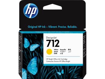 Product image for HP 712 29Ml Yellow DesignJet Ink Cartridge - T230/T250/T650/Studio