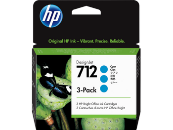 Product image for HP 712 3-Pack 29Ml Cyan DesignJet Ink Cartridge - T230/T250/T650/Studio