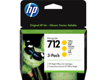 Product image for HP 712 3-Pack 29Ml Yellow DesignJet Ink Cartridge - T230/T250/T650/Studio