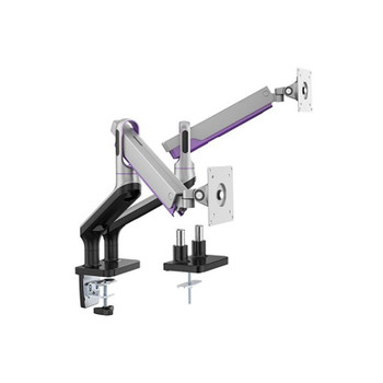 Brateck Dual Premium Alinium Spring-Assisted Monitor Mount - 17in- 32in - Silver Main Product Image
