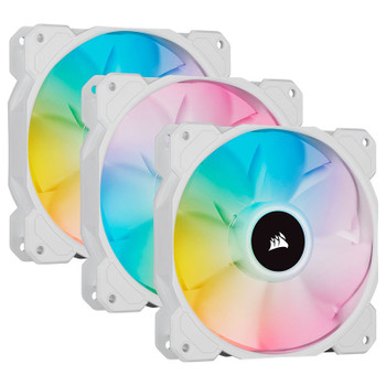 Corsair iCUE SP120 RGB ELITE White 120mm PWM Fan - 3 Pack + Lighting Node CORE Main Product Image