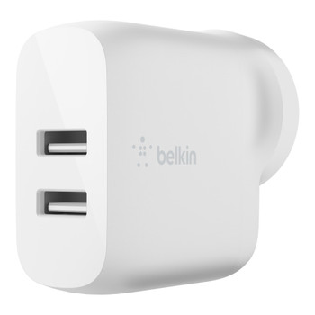 Belkin BOOSTCHARGE Dual USB-A Wall Charger 24W - Universally compatible - White  - White Main Product Image