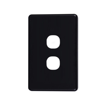 4Cabling Classic 2 Gang Switch Cover  - Black Main Product Image