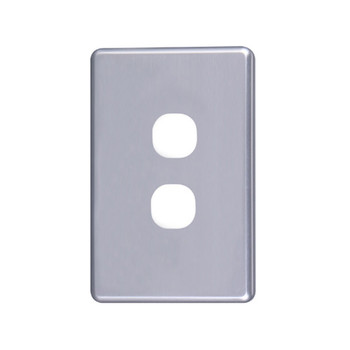 4Cabling Classic 2 Gang Switch Cover  - Silver Main Product Image