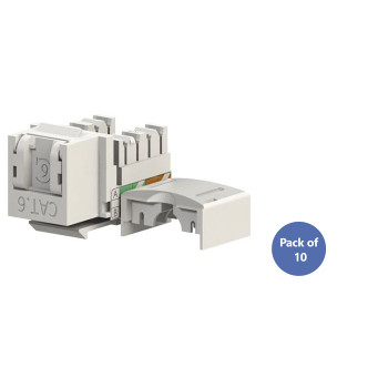 4Cabling Cat 6 RJ45 Keystone Jack with Shutter 90 Degree Pack of 10 Main Product Image