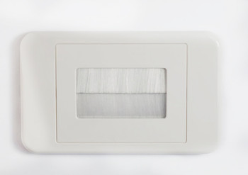 4Cabling Brush Wall Plate -  White Main Product Image