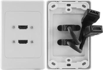 4Cabling Double HDMI Wall Plate with Dongle Main Product Image