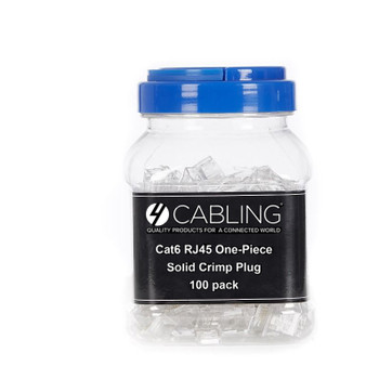 4Cabling Cat 6 8 Position RJ45 One-Piece Modular Crimp Plug Solid 100 Pack Main Product Image