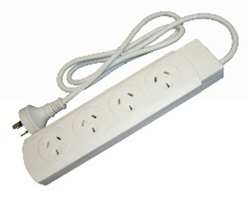 4Cabling White 4 Outlet Powerboard 1m Lead Main Product Image