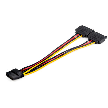 StarTech Dual SATA to LP4 Power Doubler Cable Adapter  2 SATA to 4 Pin LP4 Main Product Image