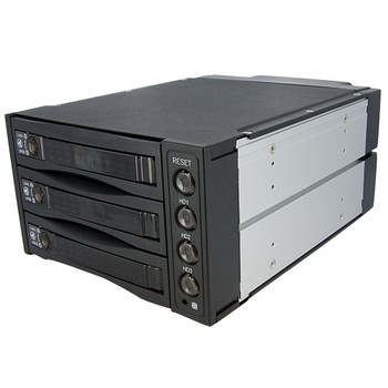 StarTech Hot Swap SATA/SAS Backplane RAID Bays  3 Hard Drive Mobile Rack Main Product Image