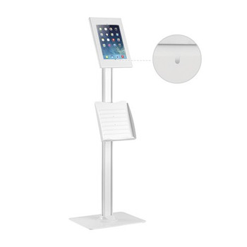 """Brateck Anti-theft Tablet Kiosk Floor Stand with Catalogue holder 9.7""""/10.2"""" Ipad, 10.5"""" Ipad Air/Ipad Pro, 10.1in Sansung Galaxy TAB A (2019)  - White Main Product Image"""