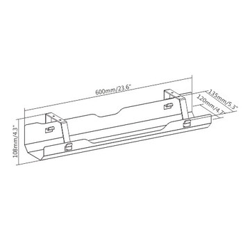 Brateck Under-Desk Cable Management Tray - White Dimensions:600x135x108mm Product Image 2