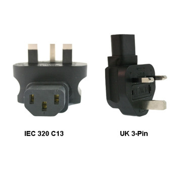Product image for IEC 320-C13 to UK 3-Pin Power Adapter   AusPCMarket Australia