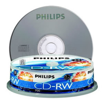 Product image for Philips CDRW 1X-12X 80 mins (Tube of 10) | AusPCMarket Australia