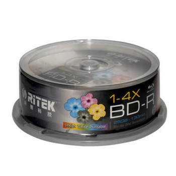 Product image for Ritek Blu-Ray BD-R 2X 25GB 130Min White Top Printable 25pcs | AusPCMarket Australia