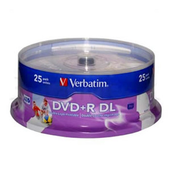 Product image for Verbatim Double Layer DVD+R in White Top Printable 25pcs | AusPCMarket Australia