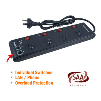 Product image for 4 Way Powerboard with Individual Switches | AusPCMarket Australia