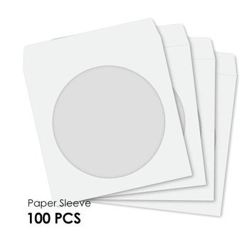 Product image for CD-DVD Paper Sleeve with Windows Hold 1 Disc  (100PCS/Pack) | AusPCMarket.com.au