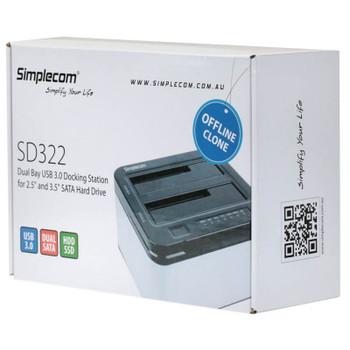 Simplecom SD322 Dual Bay USB 3.0 Aluminium Docking for 2.5/3.5 Black Product Image 2