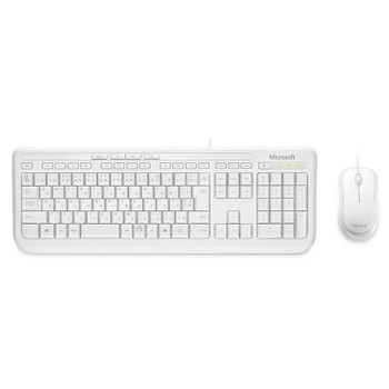 Product image for Microsoft Wired Desktop 600 Series USB Keyboard and Mouse Combo - White | AusPCMarket Australia