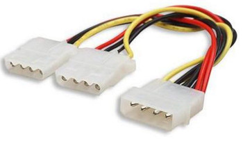 Product image for Internal Power Molex Cable 20cm - 4 pins Male to 2x 5.25in 4 pin F | AusPCMarket.com.au