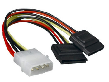 Product image for Internal Power to SATA Molex Cable - 4 pins to 2x 15 pins 18AWG | AusPCMarket Australia