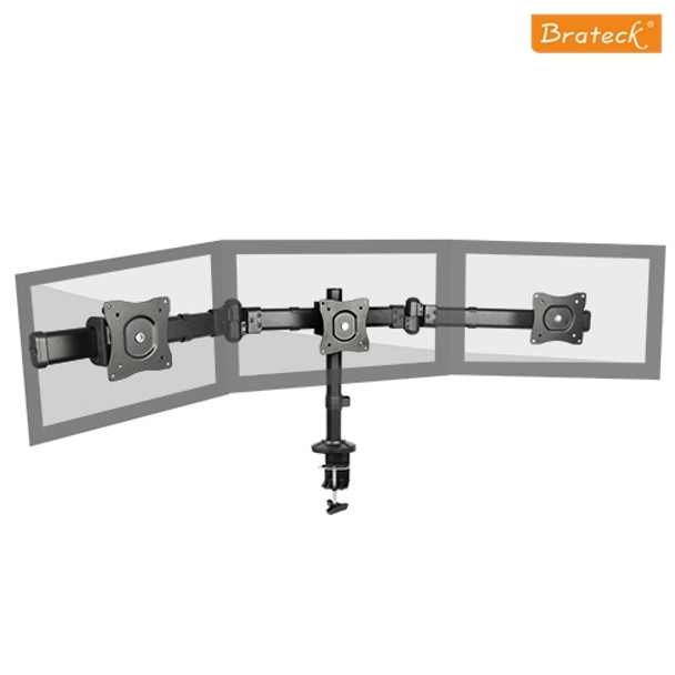 Product image for Brateck Outstanding Three LCD Desk Mounts with Desk Clamp VESA | AusPCMarket Australia