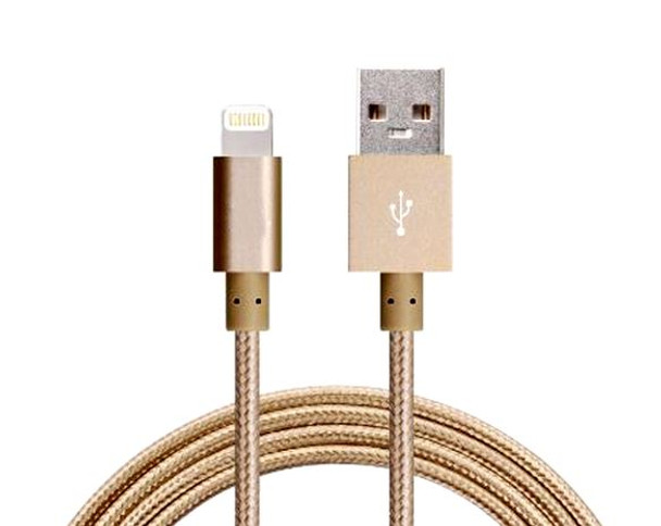 Product image for 2m USB Lightning Data Sync Charger Gold Color Cable for iPhone 5/6 | AusPCMarket Australia