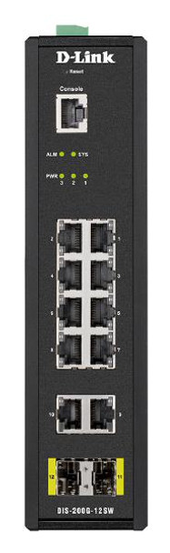 Product image for D-Link 12-Port Gigabit Industrial Smart Managed Switch with 10 1000BASE-T ports and 2 SFP ports | AusPCMarket Australia