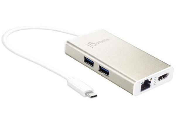 Product image for j5create JCA374 USB-C TYPE-C Multi adapter - (USB-C to 2 x USB 3.0, Gigabit Ethernet port, HDMI)   AusPCMarket Australia